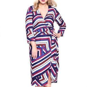 ELOQUII Geometric Print Faux Wrap Dress Sz 20 NWT